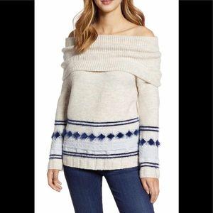 Caslon Fair Isle Convertible Cowl Neck Sweater XS